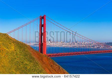 San Francisco Golden Gate Bridge GGB from Marin headlands in California USA