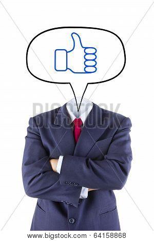 Invisible Businessman Head Say Thumb Up
