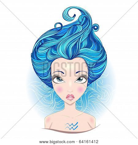 Vector illustration of  Aquarius zodiac sign.