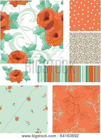 Vector Seamless Rose Patterns and Icons. Use as fills, digital paper, or print off onto fabric to create unique items.