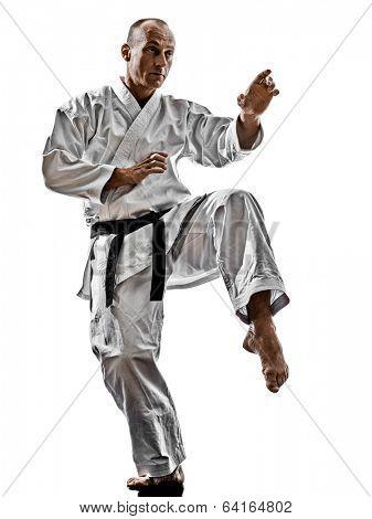 one karate kata training man isolated on white background