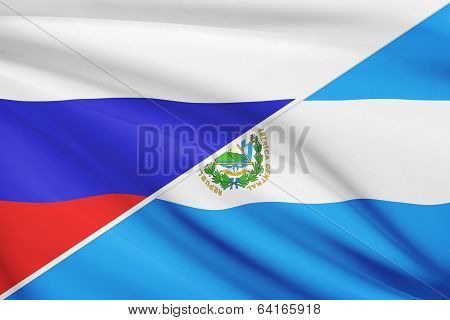 Series Of Ruffled Flags. Russia And Republic Of El Salvador.