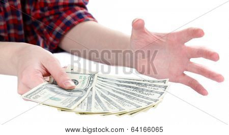 Dollars in hands isolated on white
