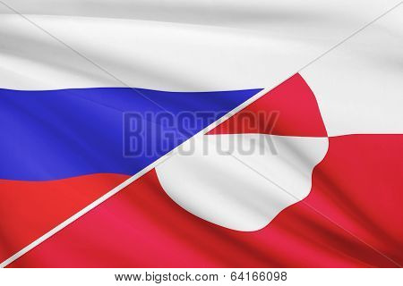 Series Of Ruffled Flags. Russia And Greenland.