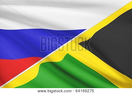 Series Of Ruffled Flags. Russia And Commonwealth Of Jamaica.