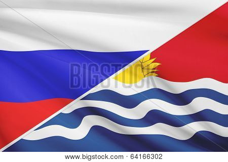 Series Of Ruffled Flags. Russia And Independent And Sovereign Republic Of Kiribati.
