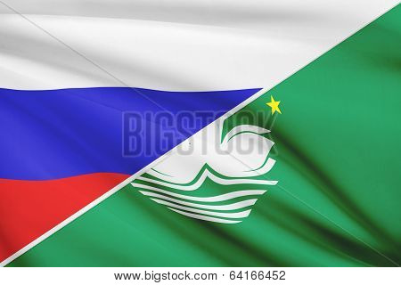 Series Of Ruffled Flags. Russia And Macao Special Administrative Region Of The People's Republic Of