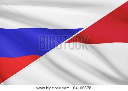 Series Of Ruffled Flags. Russia And Principality Of Monaco.