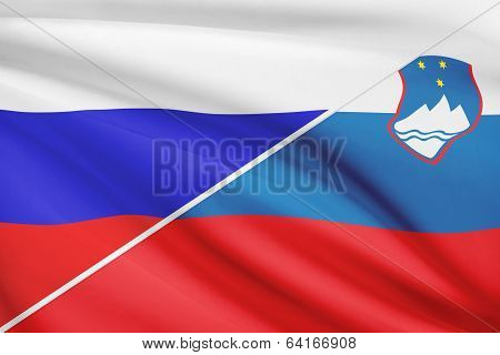 Series Of Ruffled Flags. Russia And Republic Of Slovenia.