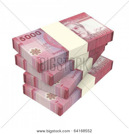 Chilean pesos isolated on white background. Computer generated 3D photo rendering.