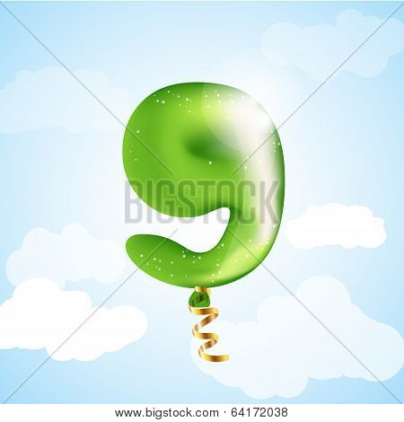 Number nine balloon