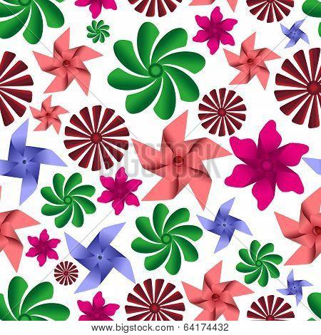 colorful pinwheel toys seamless pattern eps10