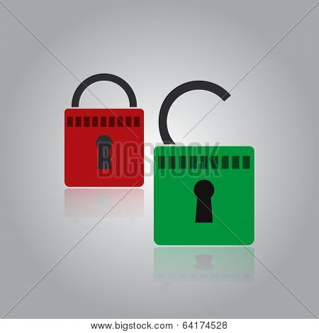 security red and green padlock eps10