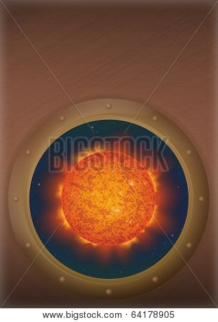 Sun in space window