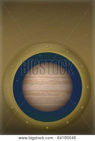 Planet Jupiter in space window