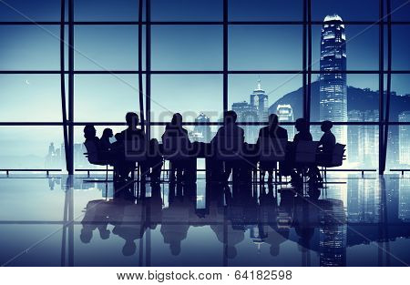 Business Team having a Meeting at the hong Kong Office