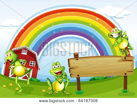 Illustration of an empty wooden board with frogs and a rainbow in the sky