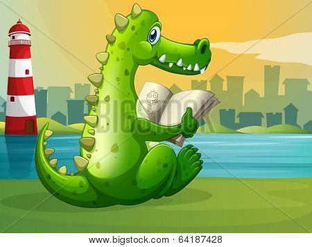 Illustration of a crocodile reading across the lighthouse