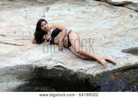 Hispanic Woman Waterfall