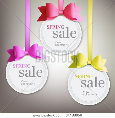 Set of sale and discount paper labels with colorful  bows and ribbons. Vector.