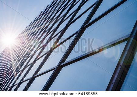Glass And Steel - Mirrored Facade Of Modern Office Building
