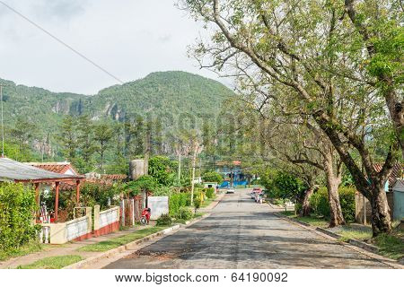 The town in the Vinales valley, a famous touristic landmark in Cuba