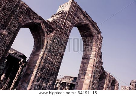 Wall And Pillars In Qutub Minar, Vintage Color