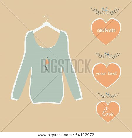 cute blue blouse on a hanger plate painted hearts and flowers vector.