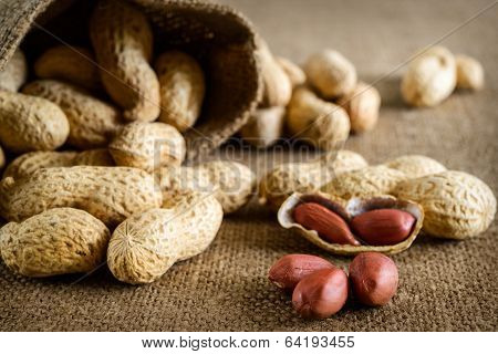 Peeled peanut on well peanuts