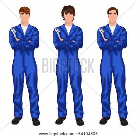 Auto mechanic worker set