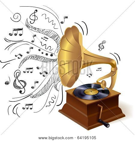 Music doodle gramophone