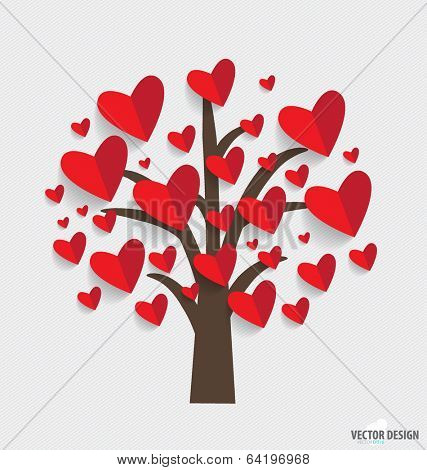 Abstract tree with hearts. Vector Illustration.