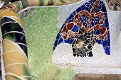 image of gaudi barcelona  - Close up photo of Gaudi mosaic bench at the park Guell - JPG