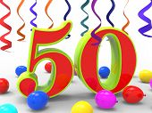 image of 50th  - Number Fifty Party Showing Happiness Parties And Celebrations - JPG