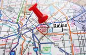 picture of texas map  - Red push pin and a map of Dallas Texas
