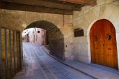 pic of stonewalled  - Mora de Rubielos masonry arches in Teruel Aragon stonewall village Maestrazgo Spain - JPG