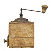 foto of wooden box from coffee mill  - old coffee grinder isolated on a white background - JPG