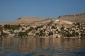 stock photo of euphrates river  - village on the shores of the Euphrates river in southern Turkey - JPG