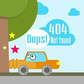 pic of not found  - Concept of not found error message with crushed car - JPG