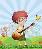 stock photo of g-string  - Illustration of a boy with his guitar at the hills - JPG