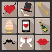 stock photo of wedding feast  - Vector Design wedding icons for Web and Mobile - JPG