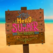 picture of sunny beach  - Wooden Plaque with Say Hello to Summer - JPG