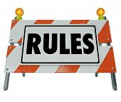 stock photo of mandates  - Rules word Road Construction Barrier Sign Regulation Law Compliance - JPG