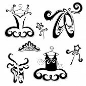 picture of tiara  - Set of drawing ballet accessories - JPG
