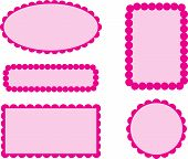 stock photo of girly  - Cute scallop frame tags in pink shades - JPG