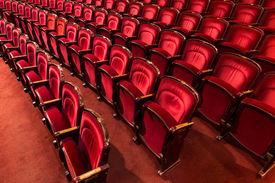 picture of cinema auditorium  - an old theater auditorium interior poor light - JPG