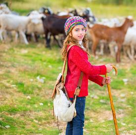 foto of shepherdess  - Kid girl shepherdess happy with flock of sheep and wooden stick in Spain - JPG