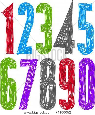 Stylish hand drawn digits, colorful handwritten numerals.