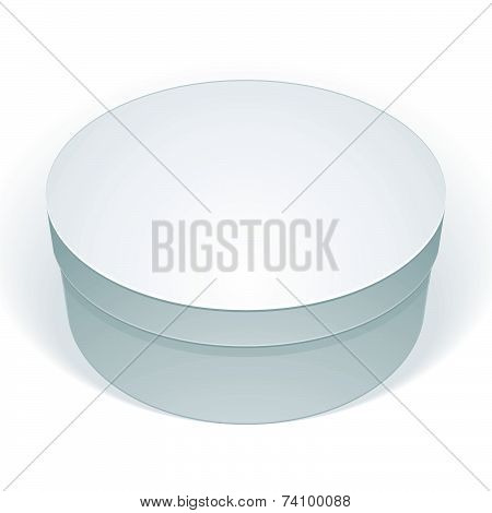 Realistic white round package box for products, put your design over the pack in multiply mode