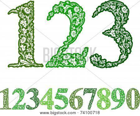 Floral numbers set, vintage style numerals set.